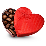 The heart shaped box containing your favorite sweets is something reflecting my feelings for you.
